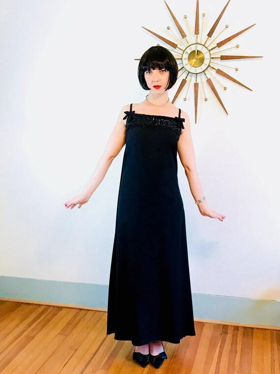 Beaded 1960s Dress, Vintage 60s Gown, Black Maxi Dress, Black Beaded Dress,60s Cocktail Dress,Spaghetti Straps,60s Maxi Dress, Watteau train