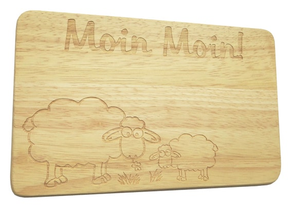 Breakfast board-engraving-sheep-text of your choice