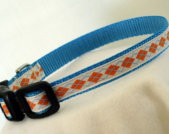 Small Dog Collar - Argyle Dog Collar - 1/2 Inch Wide - Fits 8-11 Inches - Narrow - Toy - Tiny - Teacup - Boy - Puppy Collar - READY TO SHIP