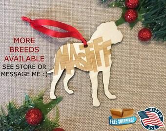 Mastiff Christmas Ornament *** Dog Christmas Ornament *** Dog Breed Ornament  ***Dog Lover Gift *** Christmas Holiday Ornament ***