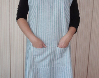 LINEN PINAFORE DRESS apron criss cross , linen dress , women linen clothing , smock ,apron ,No-ties Apron,linen tunic,vendor apron,handmade