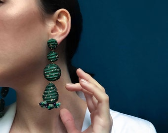 emerald green and gold beaded earrings,statement piece,handmade jewelry with glass bead,bright long drop earrings geometric pieces gemstones