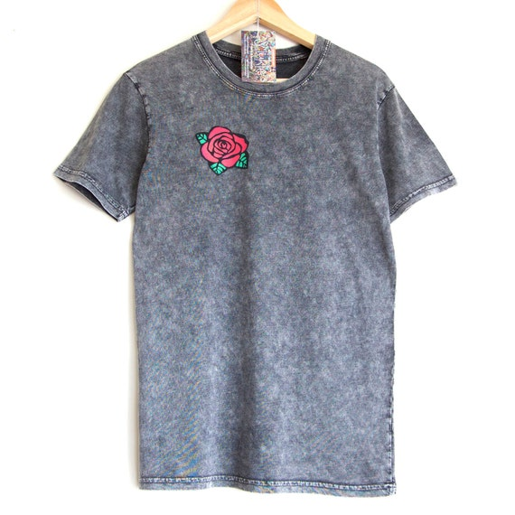 ROSE t-shirt. Black Stone Washed T shirt with hand printed rose. 100% cotton t-shirt with Rose.