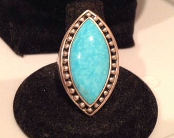 Vintage sterling and Larimar ring