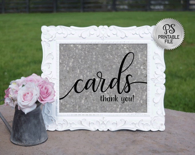 PRINTABLE Cards Sign | Country Wedding Cards sign, Galvanized Wedding signage, Wedding Decor, Barn Wedding Decorations, Wedding cards table
