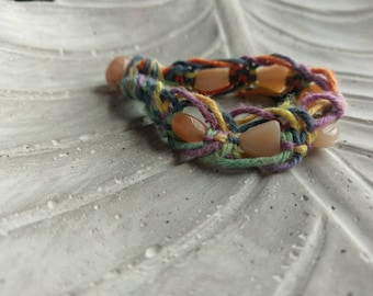 Fishbone braided rainbow hemp bracelet