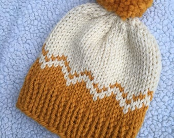 Toddler Mustard and Cream Chevron Knit Hat with Pom Pom