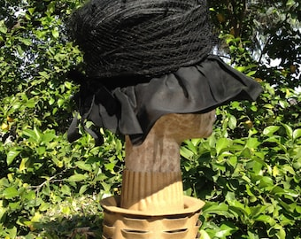 Sheer Black Chiffon Floppy Brim Hat AND A Netted Pillbox Hat Combined 2 Hats