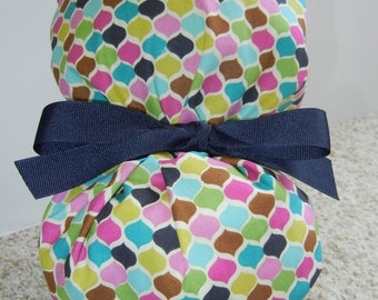 Turn Up Ponytail Surgical Scrub Hat with Mosaic Petals