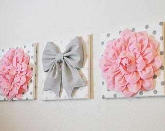 """Pink, White & Gray Wall Decor - Baby Nursery Wall Art - Flowers and Gray Bow on Polka Dot 12 x 12"""" Canvases Wall Art"""
