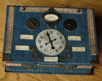 "Handmade Keepsake Box 'Take Time to...""  Vintage Designed - Denim"