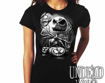 Tim Burton Nightmare Before Christmas Pumpkin King Jack Skellington  - Ladies T Shirt Black Grey