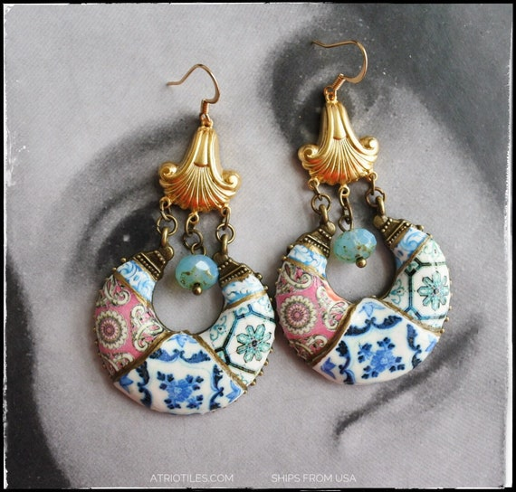 Earrings Portugal Tile Azulejo Tile Replica CHANDELIER Earrings from BRAGA and Aveiro Romantic Surgical Steel Ear Wire Bohemian Eclectic