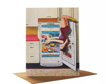 Refrigerator Trapeze, Quirky Greeting Card, Retro Greeting Card,  Vintage Kitchen, Collage Art Card,  Mother's Day Card, Blank Card