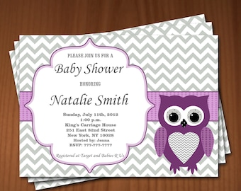 Owl Baby Shower Invitations Girl Baby Girl Shower invitations Printable Baby Shower Invites FREE Thank You Card - editable Download purple