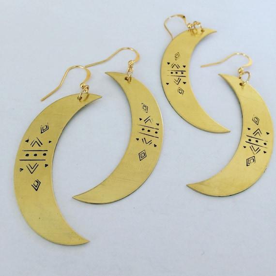 Hekate Goddess Crescent Moon Earrings - Myth - Gold - Gypsy - Bohemian - Divine Feminine - Festival - Mysticism