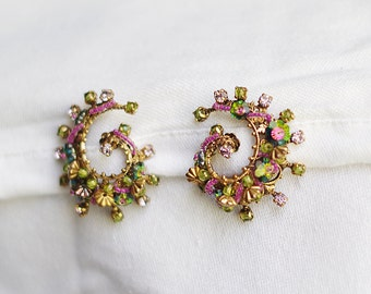 vintage spiral clip on earrings unique purple and green crystal with beads