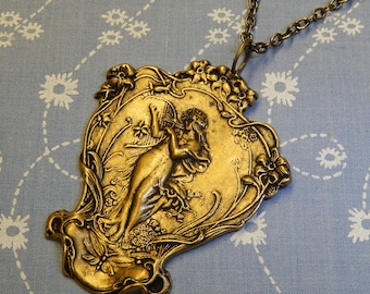 Harp Playing Maiden in the Forest Pendant Necklace