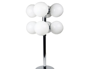 Sonneman Chrome and Frosted Glass 8 Globe Table Lamp