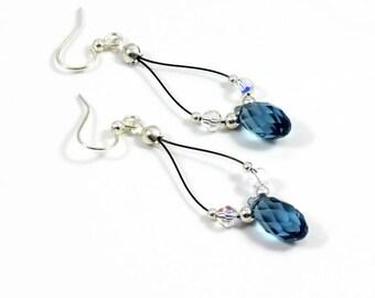 Sapphire Blue Earrings - Crystal Jewelry - Teardrop Dangle Earrings - Beaded Jewelry - Lightweight Earrings - Sterling Silver