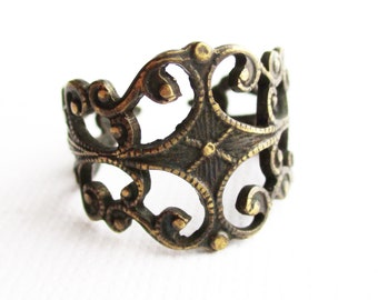 adjustable filigree statement ring, adjustable ring, filigree ring, statement ring, filigree statement ring, adjustable, ring, owlsnroses