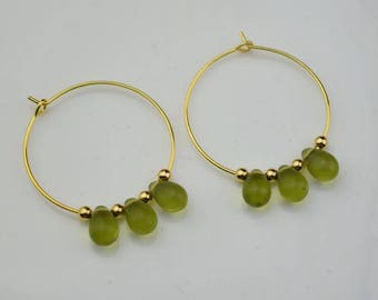 gold peridot hoop earring drop hoops teardrop droplet huggie earrings simple earrings everyday/gift for her