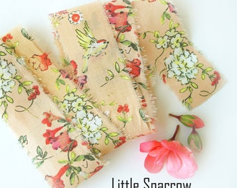 Torn Edge Cotton Craft Ribbon - Shabby Style Gift Wrap Ribbon - Fiber Craft Supplies - Little Sparrow