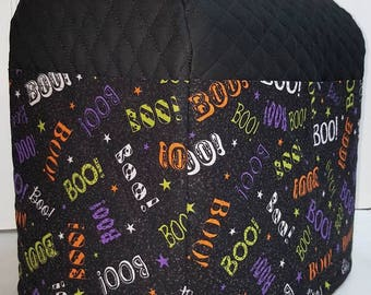 Black Quilted Halloween BOO!! KitchenAid Stand Mixer Cover w/6 Pockets