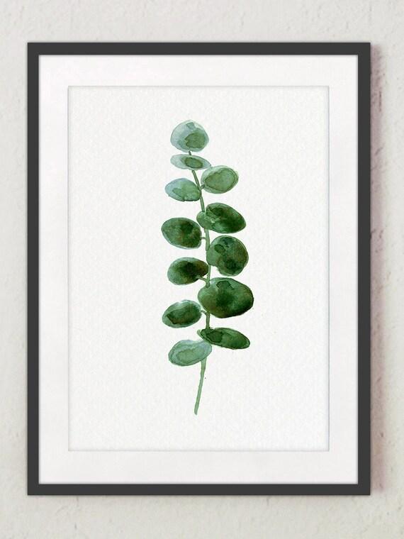 Eucalyptus Leaves Wall Decor Green Leaf Botanical Watercolour