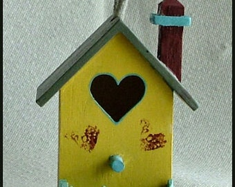 Miniature Birdhouse, Hand-Painted