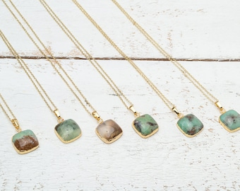 Square Australian Jade Necklace Gold Dipped Natural Chrysoprase Necklace silver Green  Gift for women Christmas gift Minimal Necklace
