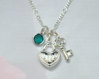 Sterling Key To My Heart With Swarovski Birthstone Necklace