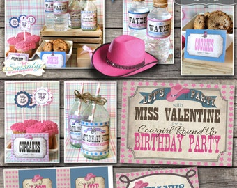 Cowgirl Party Collection - INSTANT DOWNLOAD - Editable & Printable Birthday Party Decorations by Sassaby Parties