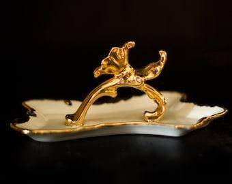 Blanc et or de plat - plateau de vanité - bijoux vintage en verre