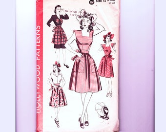 1940s Hollywood Pattern Womens Aprons Pinafore Dress with Large Pockets and Hat Sewing Pattern Size 16 Bust 34