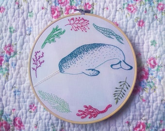 Narwhal and Seaweed Embroidered Hoop Art, Whale, Cute, Ocean, Wreath Embroidery