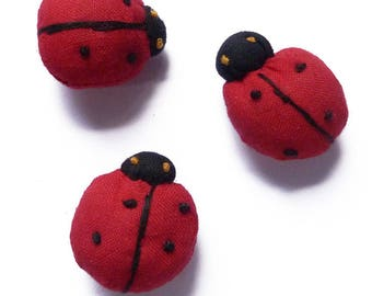 set of 3 figurines stuffed Ladybug 2.7 cm red black - set no. 160707011