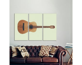 Vintage Acoustic Guitar Full View on 3 CANVAS Split , Decorating Ideas, Wall Decor, Wall Art, Music Decor