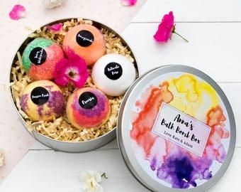 Personalised Bath Bomb Set, Birthday, Gift For Her, Bath Fizzy, Handmade, Bath Fizzies, Birthday Gift, Gift Box, Spa Gift, Natural, Vegan