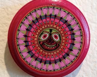 Colorful Mandala, Face, Round Wood Art Board