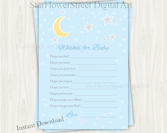 Star Baby Shower Wishes for Baby stars moon baby shower theme game over the moon twinkle twinkle little star boy blue printable download