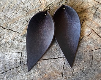 Leather Earrings, Leather Leaf Earrings, Chocolate Brown, Inspired By Joanna Gaines Earrings