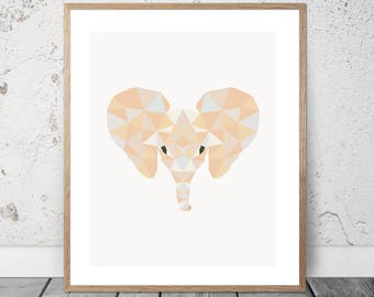 Baby Elephant / Calf /  Low Poly / Graphic / Download / Printable / Prints / Abstract