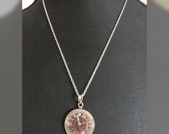 Silver plated aged effect clock pendant