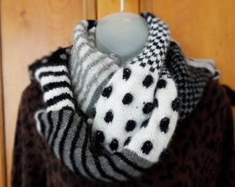 WOOL HANDKNIT SCARF  in super soft Ethical Angora.