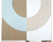 Modern Linen Quilt - SAND AND SEA - Big Ring - Throw, Wall, Crib
