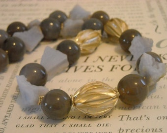 Raw Energy necklace - chalcedony, agate, Hill Tribe silver, purple, grey
