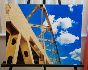 "Downtown Pittsburgh Bridge Photo, HDR photograph, yellow and blue, 16x20"" Aluminum photography print, One Cerulean Day"