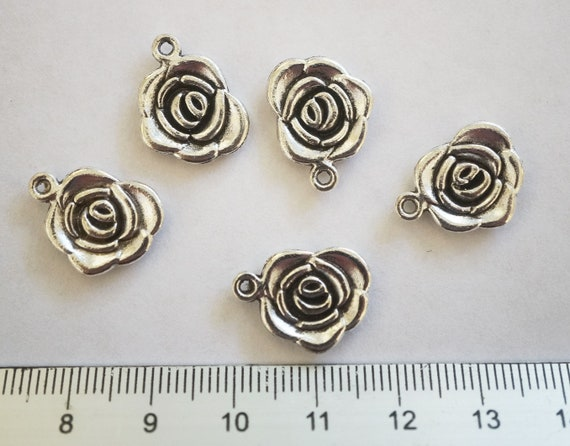 BULK 50 Rose flower connector charms antique silver tone F30
