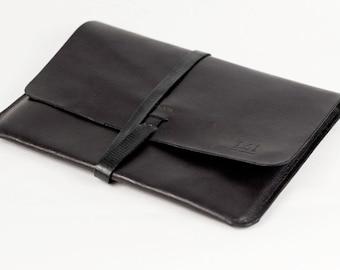Leather iPad Case iPad Portfolio - Leather, Hand-Stitched, Top Grade, Black